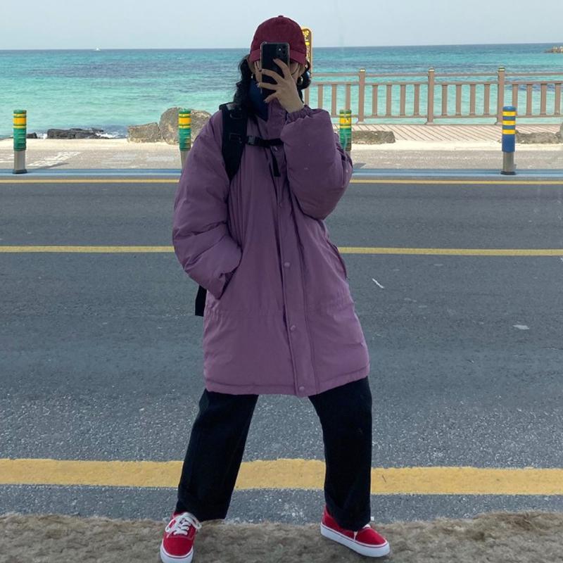 Qterra(특허브랜드) 패딩 겨울 양면 루즈핏 여성 미디 코트