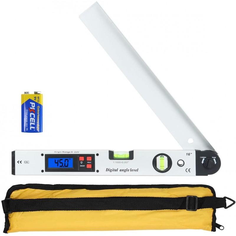 트랙터 LCD 0-225° 수직 수평을 위한 400mm/16인치 앵글 측정 도구 알루미늄 하우징 배터리가 포함된