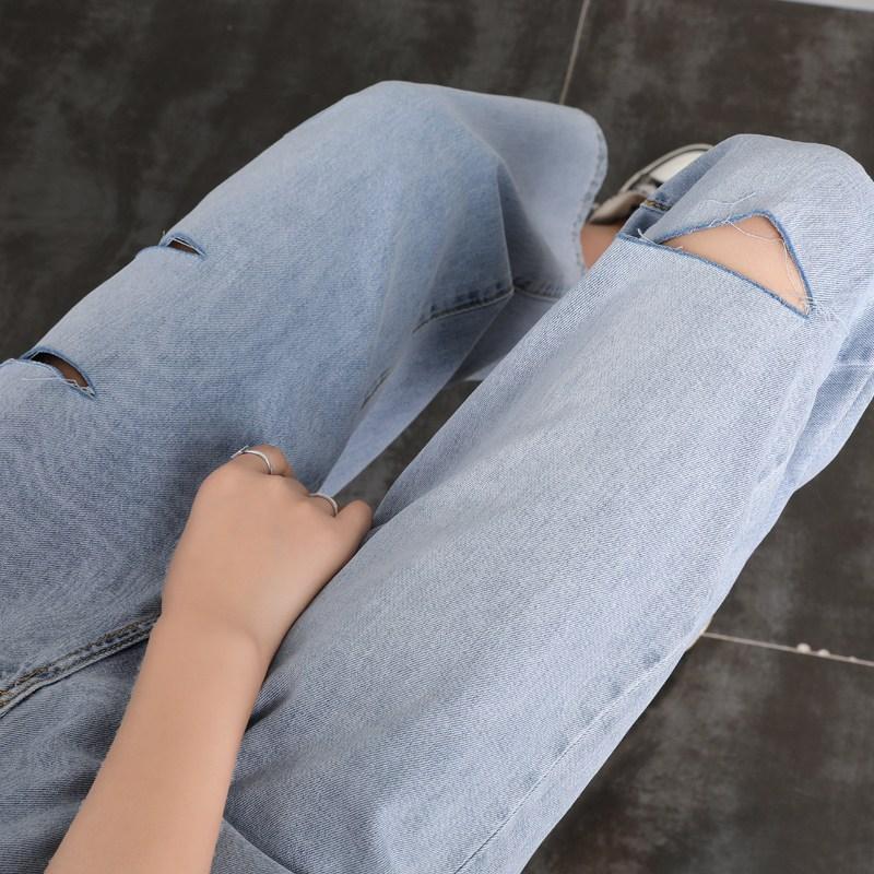 나래쇼핑몰 스트레이트진 빅진 청바지 여성 여름 얇은 하이웨스트 드롭 드레이프 와이드 루즈핏 슬림핏 9부 베다 스트레이트핏
