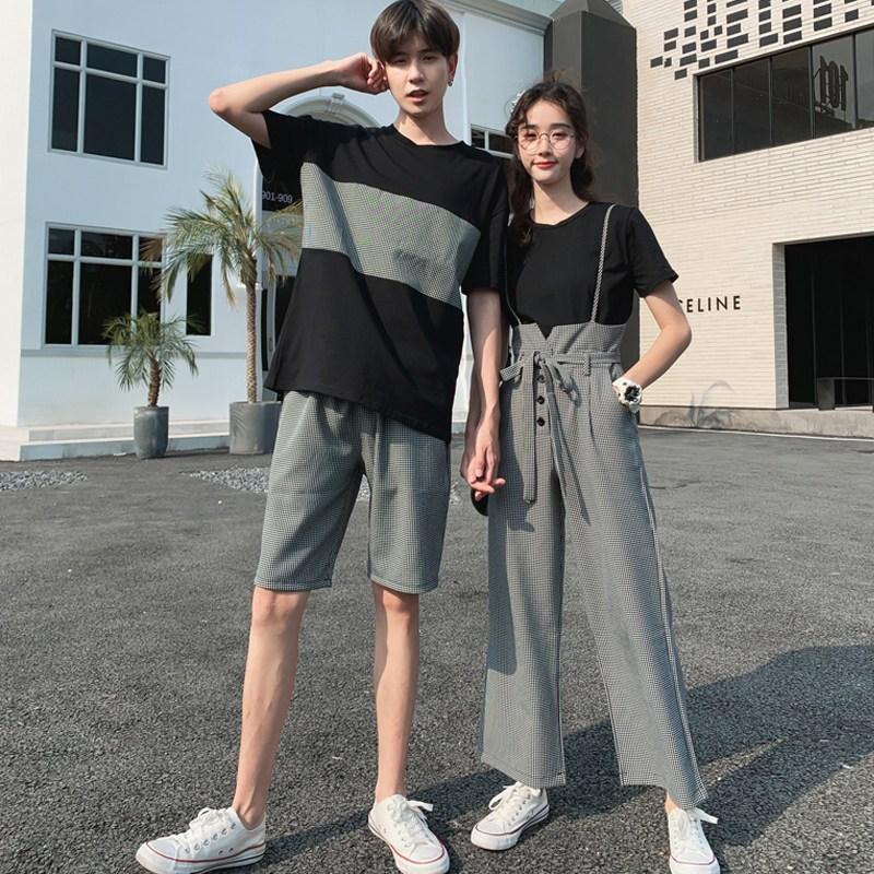 캣츠미 반팔티셔츠디자인 동색 계 커플룩 여름옷 0디자인 감각 멜빵바지 커버 여성 t셔츠 상의