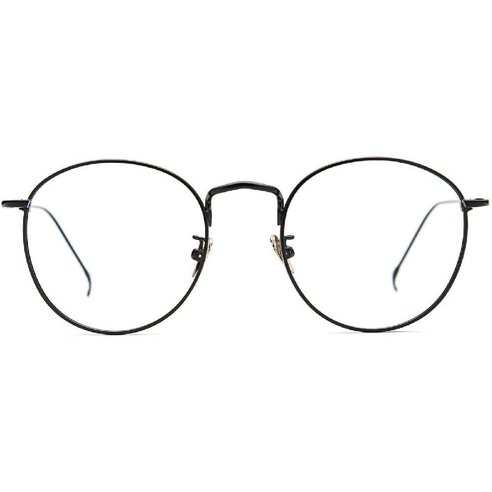 TIJN 여성 금속 원형 안경 패션 전체 림 라운드 얇은 아티스트 프레임 헹크