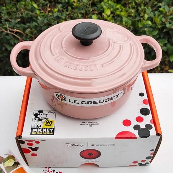 Lecreuset [르쿠르제] 미키 콜라보 양수 주물 무쇠냄비 18cm 신혼부부 집들이선물, 핑크, 지름18cm 1.8L