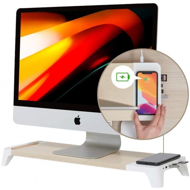 POUT_EYES8 흰색 나무 책상 모니터 컴퓨터 스탠드 라이저 선반 + Qi 3.0 고속 무선 충전 패드 + 노트북 Apple iMac PC iPh, 단일옵션