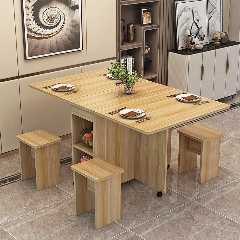 접이식 식탁 홈 작은 아파트 4 명 직사각형 간단한 원형 이동식 텔레스코픽 식탁 접이식 테이블, 모바일 스퀘어 1.2 + 4 스툴 라운드 라이트 호두