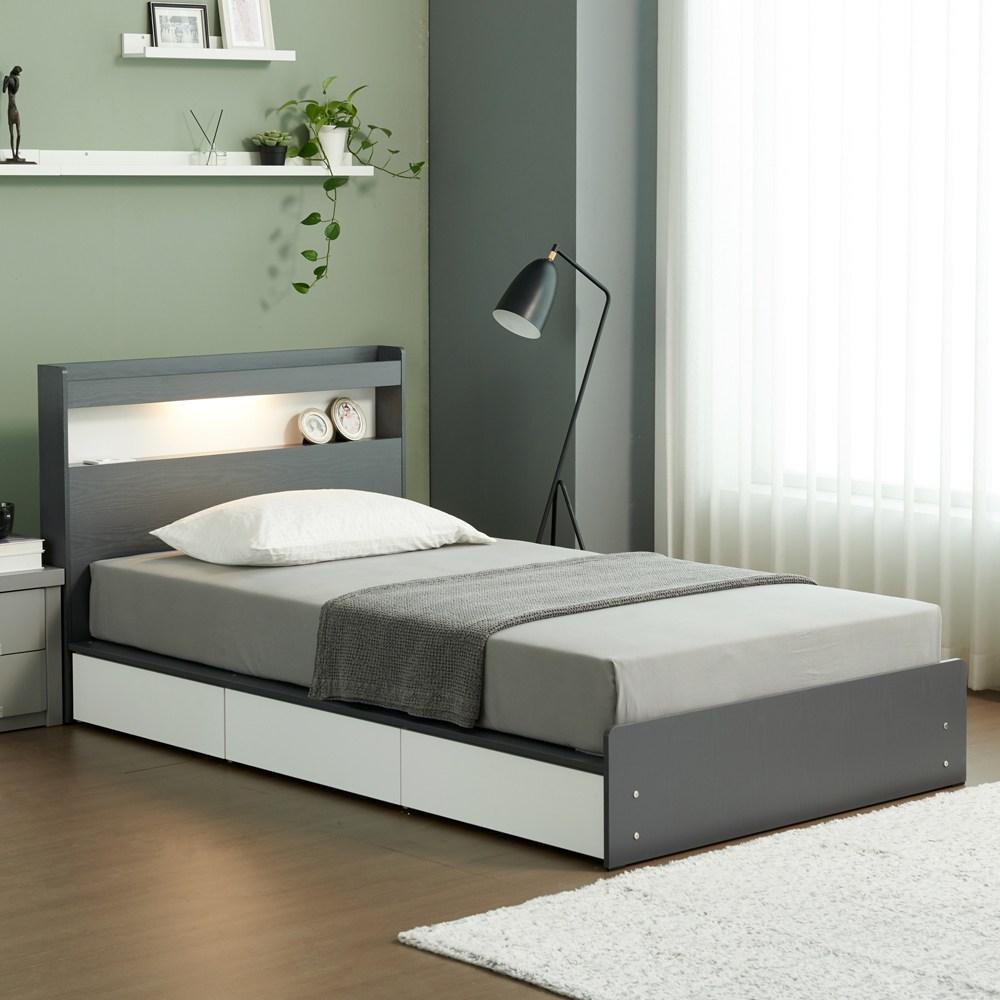 젠티스 LED 3단 멀티수납 평상형 슈퍼싱글 퀸 침대프레임 (매트선택), B. 브루노 (그레이 화이트)