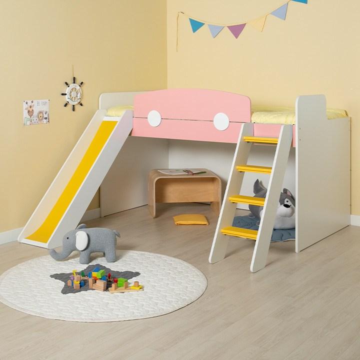 에보니아 플레이 벙커침대 사다리 미끄럼틀, EB1102 매트제외 핑크