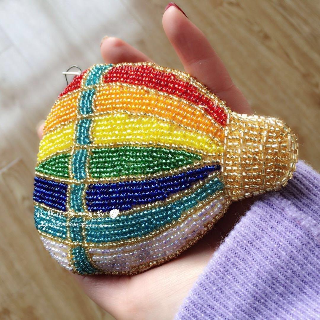동전지갑 두견새 구슬자수 자체디자인 설계 수공 유럽미국 컬러 풍선 학생 동전 구슬꿰미 여성핸드 지갑