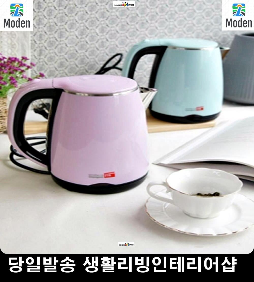 리빙소품 커피포트기 2중 더블윌 구조 예쁜주방소품 생활잡화 미니전기포트, 핑크