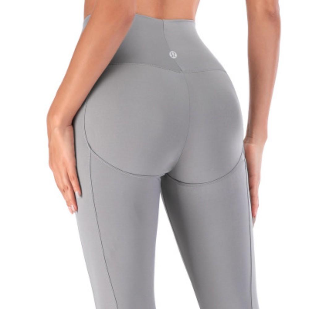 룰루레몬 요가 필라테스 여성 상의 세트 옷 복 레깅스 허리는 얇은 복숭아 누드 스포츠 피트니스 트레이닝 바지였습니다