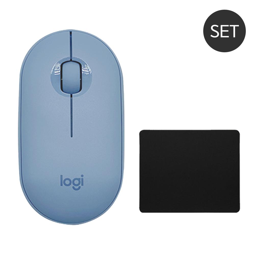 로지텍 페블 Pebble M350 무소음 무선 블루투스 마우스+마우스패드 세트, 로지텍 Pebble 마우스, 블루