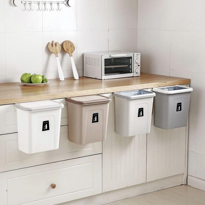 클라씨 주방 싱크대 걸이용 음식물 쓰레기통 슬라이드캡쓰레기통 냄새안나는 원터치휴지통 화장대 화장실 위생용품수거함 기저귀통 - 2 type, 그레이