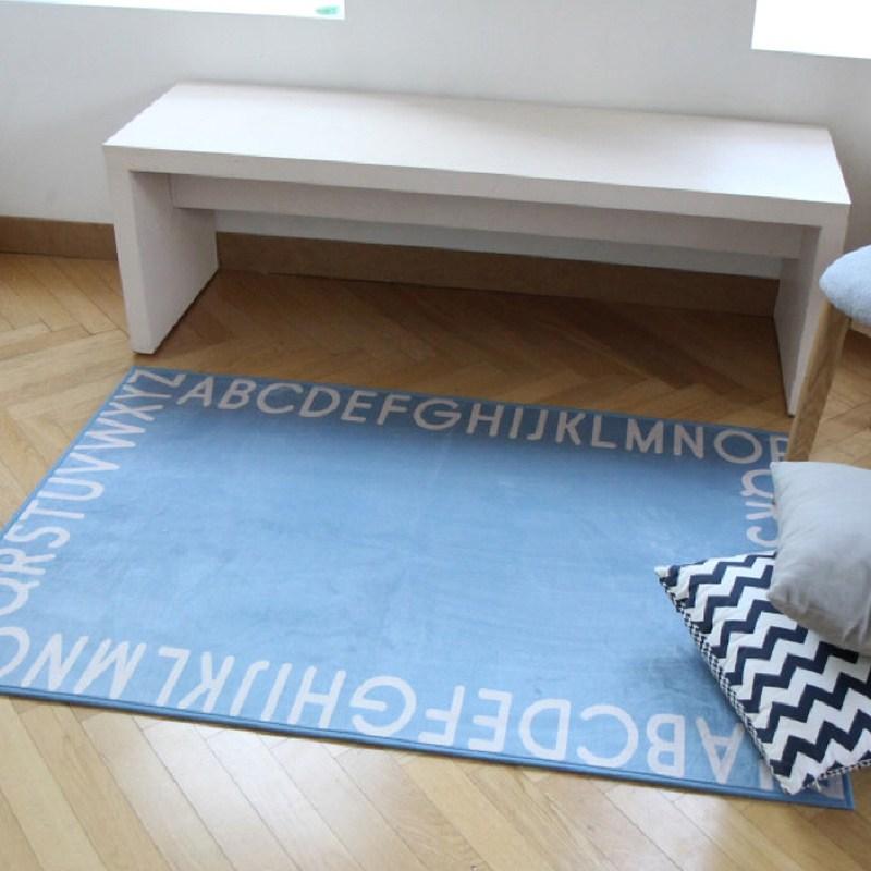 타임투데코 알파벳 디자인 아이방 러그 카페트, 블루