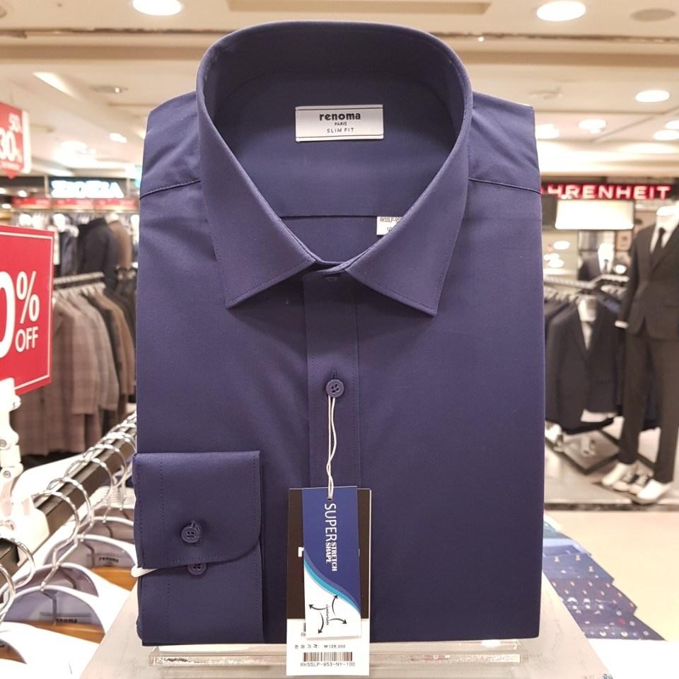 레노마 셔츠 네이비 평직정통 드레스 스트레치 슬림핏 셔츠RKSSLP953NY