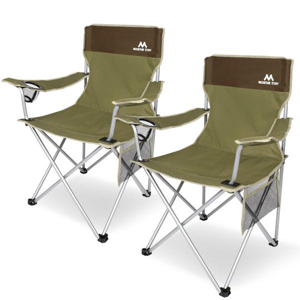마운틴스토리 필드 캠핑체어세트 1+1 캠핑의자 낚시의자, 카키