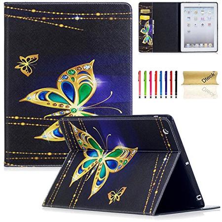 아이패드 2 케이스 아이패드 3 케이스 아이패드 4th 세대 케이스 Dteck PU 가죽 Folio 지갑 케이스 with, 04 Jewelry Butterfly
