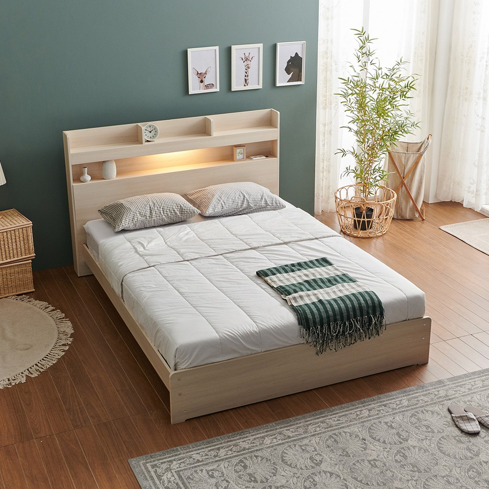 크렌시아 라피스 LED 일반형 퀸 침대 Q+본넬매트리스+방수커버, 메이플