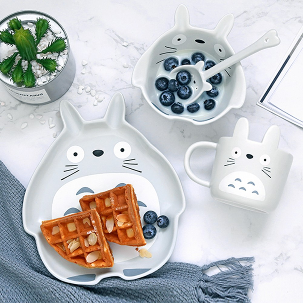 동물 캐릭터 접시 도자기 식기 귀여운 플레이팅 예쁜 그릇, 토토로 4종 세트 [073]