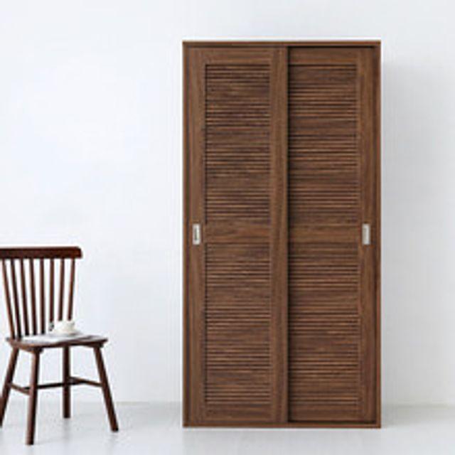 마켓비 BELOIN 슬라이딩 원목 2문 옷장 미들브라운, 화이트그라운드 본상품선택