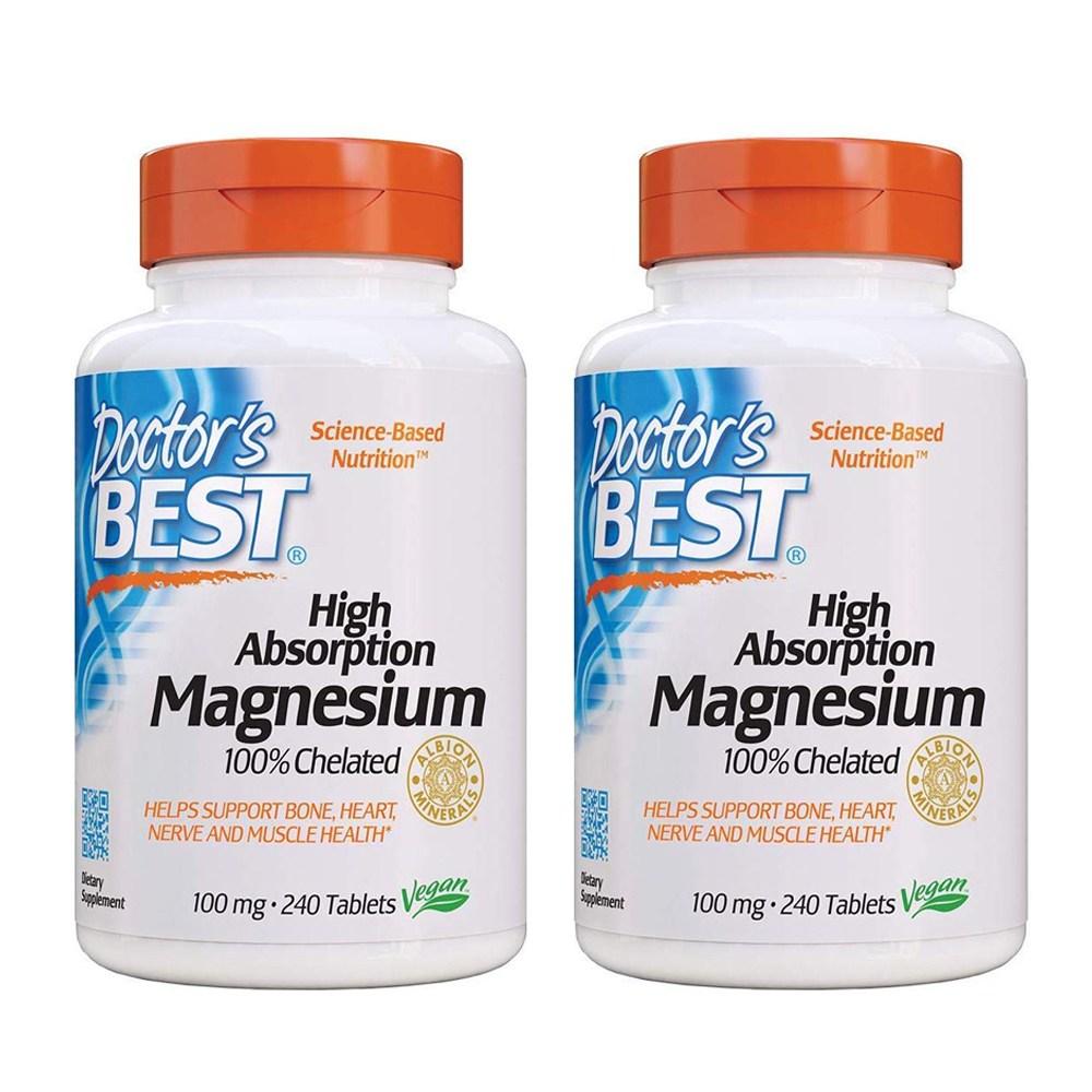 Doctors Best 닥터스베스트 high absorption 킬레이트 마그네슘 100mg 240정 2병