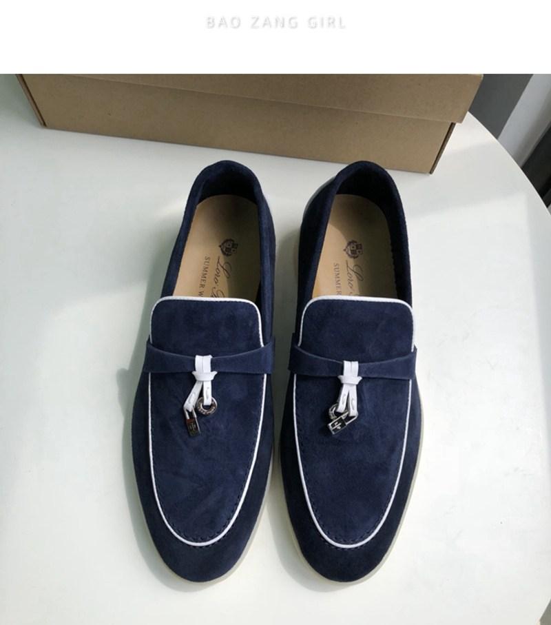 퓨어 오리지널 Loro Piana 가죽 로퍼 여성용 원스텝 플랫 바닥 게으른 신발 캐주얼 신발 부드러운 밑창 완두콩 신발