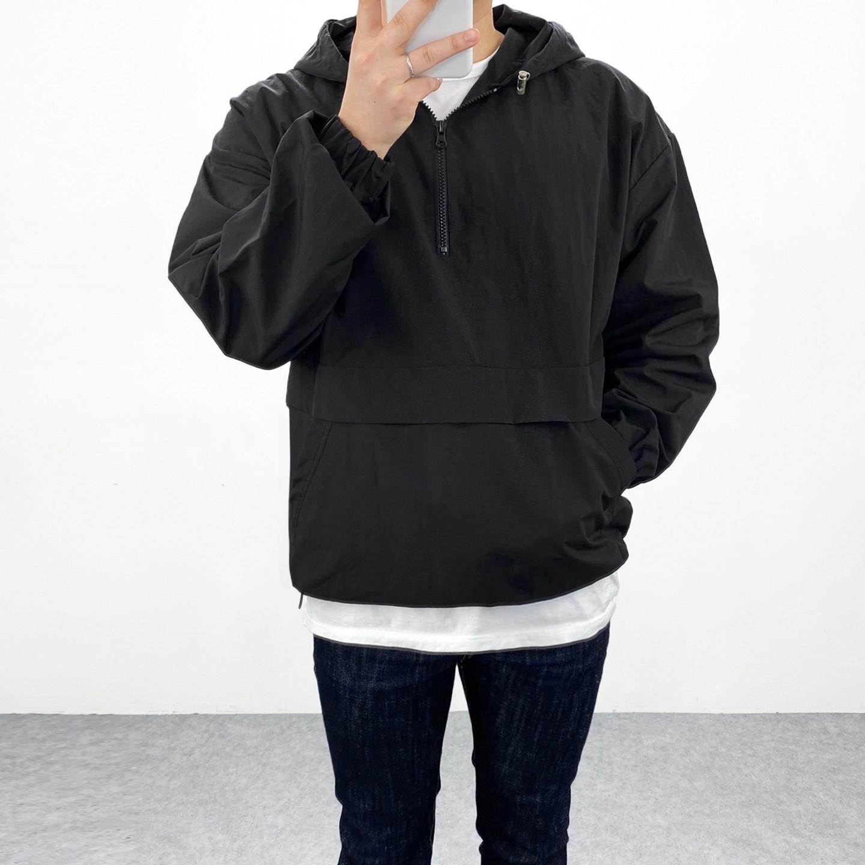 엠클로 남자 오버핏 반집업 바람막이 아노락 맨투맨 후드점퍼 4컬러