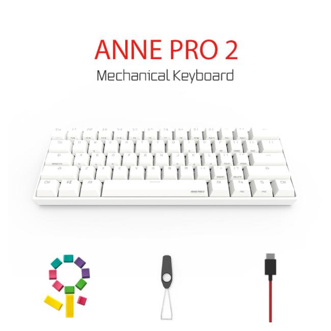 앤프로 ANNE PRO 2 블루투스무선 기계식미니키보드 영문 RGB, 화이트, 게이트론_청축