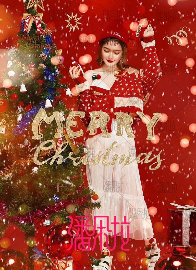무생채 크리스마스 코스튬 산타복 산타걸 2020년 컨셉트 스웨터 화보 패션