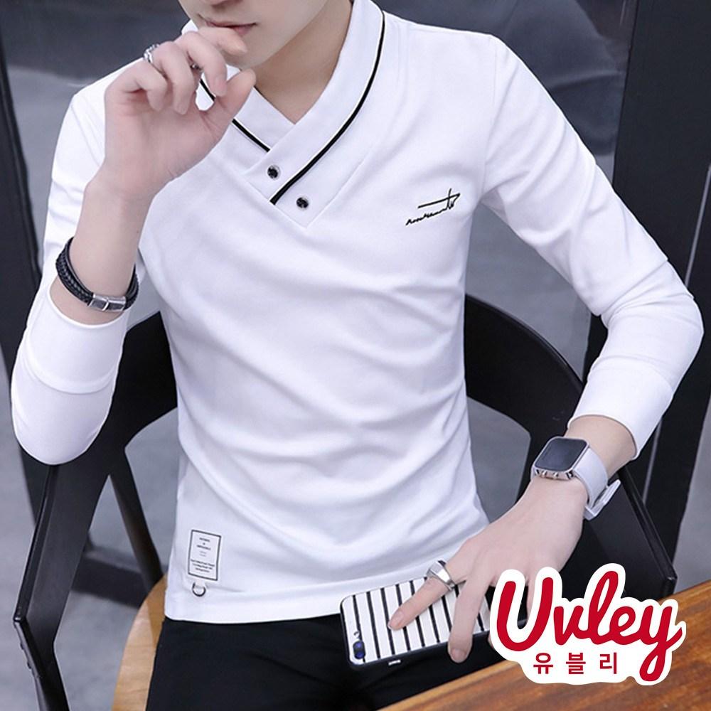 유블리 남성 브이넥 긴팔티셔츠 4color ~3XL 슬림핏 유니크한 브이넥(UV216132WD)화이치 티셔츠 가을 겨울 티 긴팔