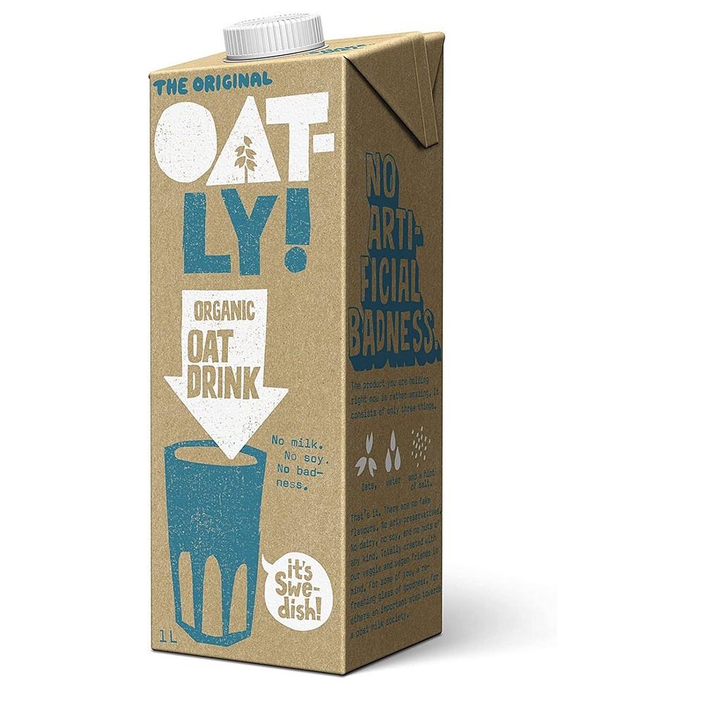 오틀리 Oatly The Original Organic Oat Drink 1 Litre 6팩 순수 귀리 음료 우유 콩 대용 단백질, 단일상품