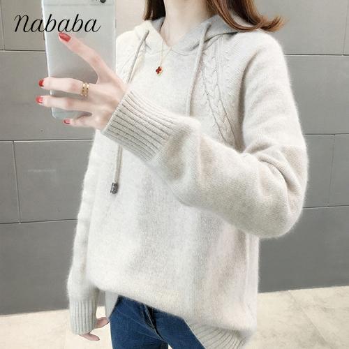 나바바 NK117 여성 캐주얼 꽈배기 후드 니트 스웨터