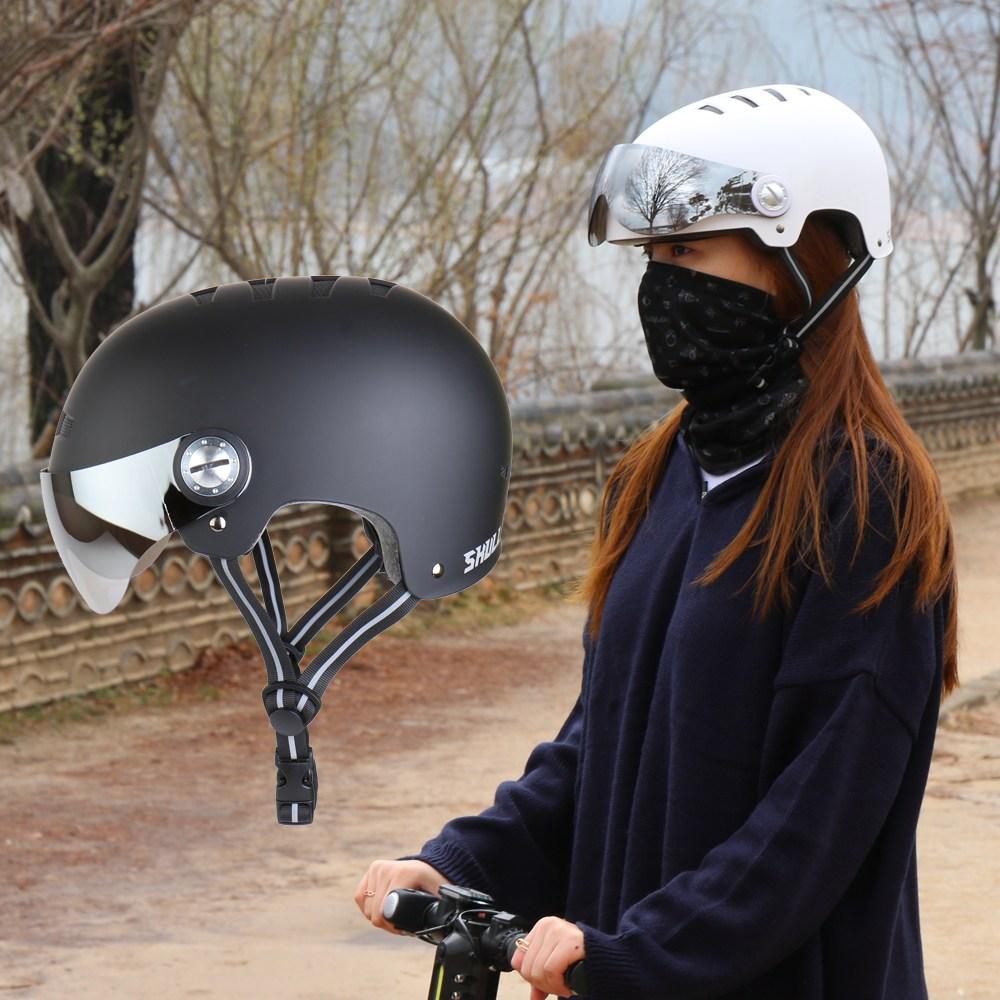 SMC 스컬 어반헬멧 고글헬멧 전동킥보드 자전거 헬맷, 01. L - 무광 블랙