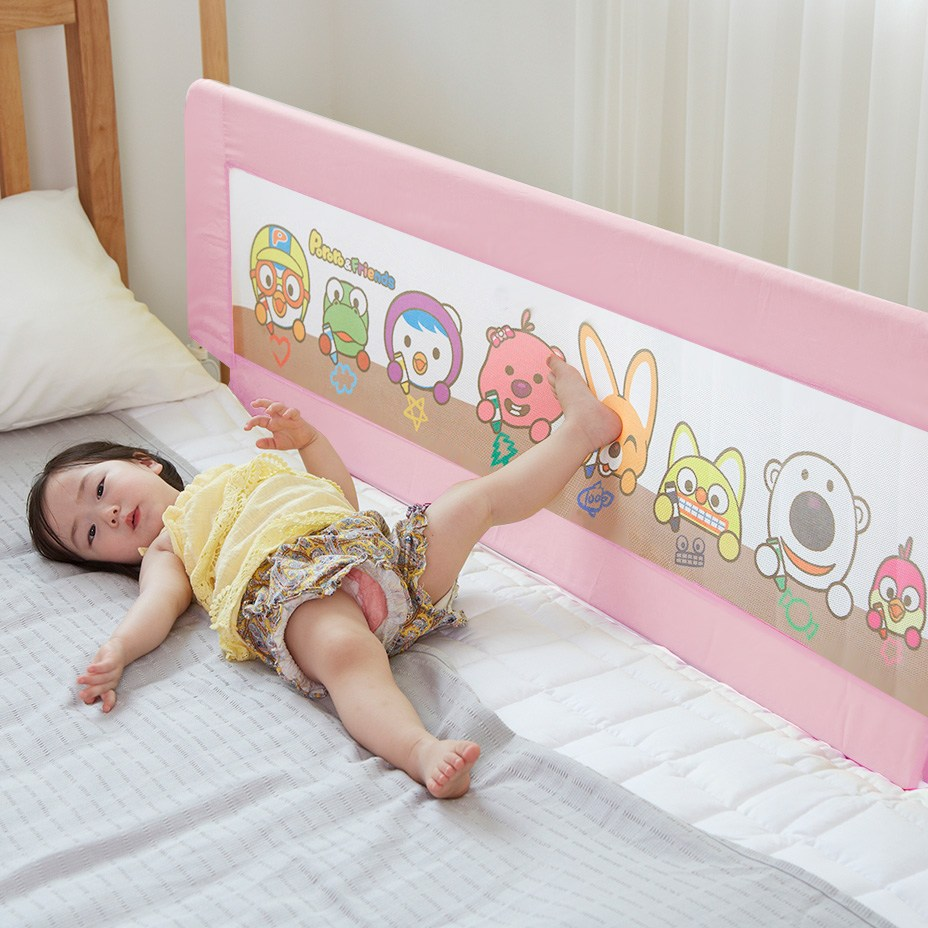뽀로로 침대안전가드 아기 유아 침대가드 150cm 매립형 평상형 호환, 핑크