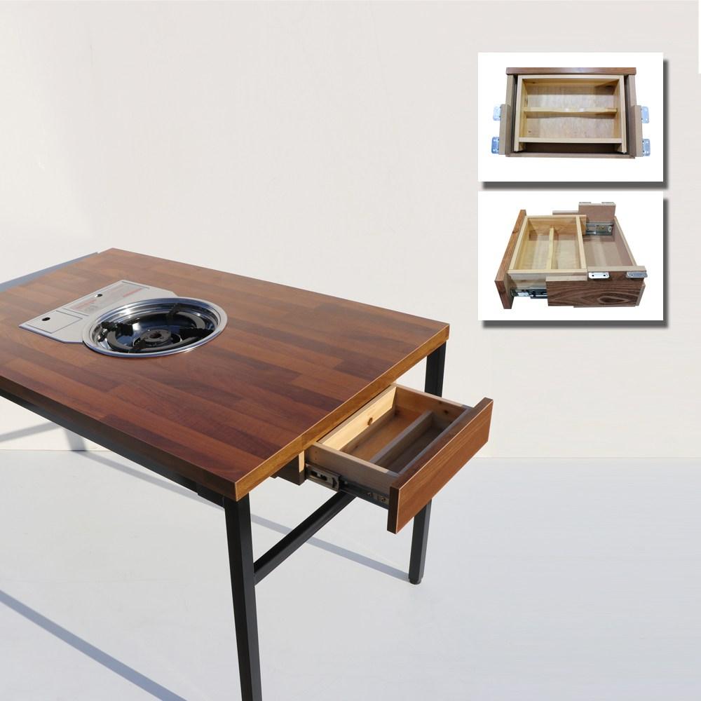 늘가구 불판식탁 1번수저통 가정용불판테이블 접이식 미우새테이블 집에서 놀기, (원색)수저통+테이블, 1세트