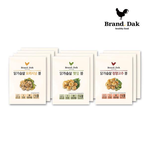 브랜드닭 닭가슴살볼 오리지널3+깻잎3+청양고추3+1팩, 10팩, 100g