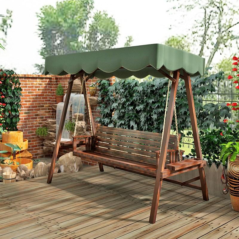 나인티원 흔들 그네 원목 나무 의자 정원 마당 펜션 야외용, 2~3인용 흔들그네의자