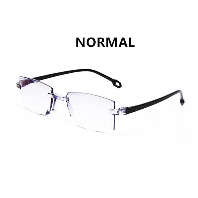 남성 여성 무테 블루 라이트 확대 안경 노안 독서 안경 이중 초점 멀리 안티 디옵터 + 150 TR90