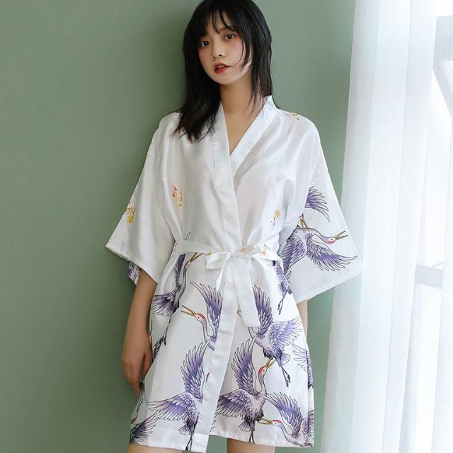 데코라멘 유사실크 유카타 잠옷 슬립웨어 홈웨어 목욕 샤워가운