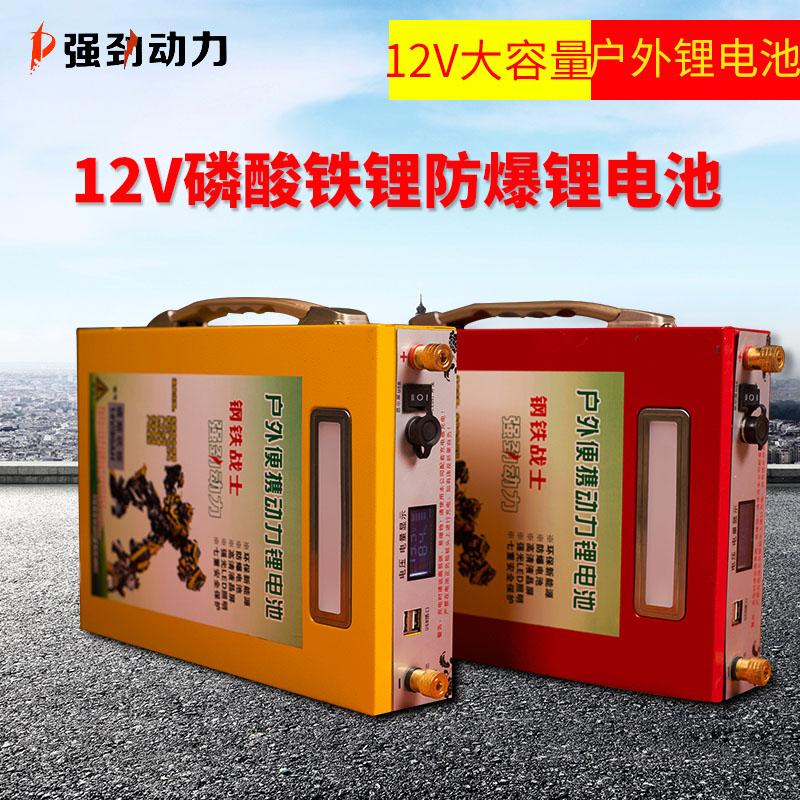 파워뱅크 리튬 인산철 12V 대용량 100AH 200AH 배터리 야외 캠핑용 조명 배터리, 100AH 노란색 : 충전기 + 가방 (POP 1617793703)