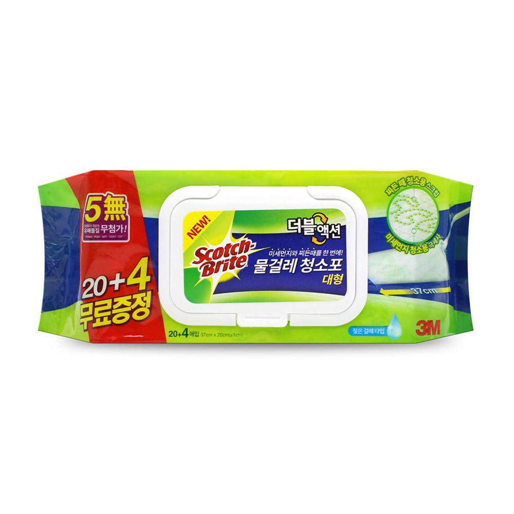 3M 더블액션 물걸레청소포 대형 24매 x1개/청소물티슈, 단품