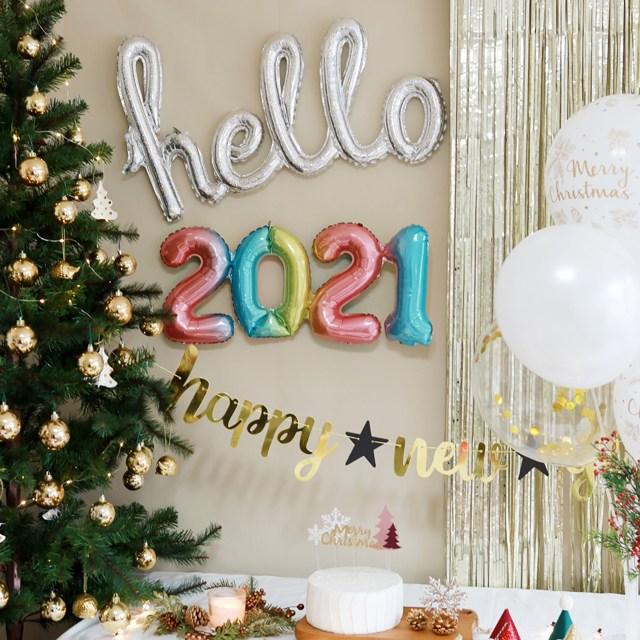 [파티조엘] 2021 링크타입 풍선_한번에 불어지는 2021 새해 신년풍선 연말파티, 레인보우