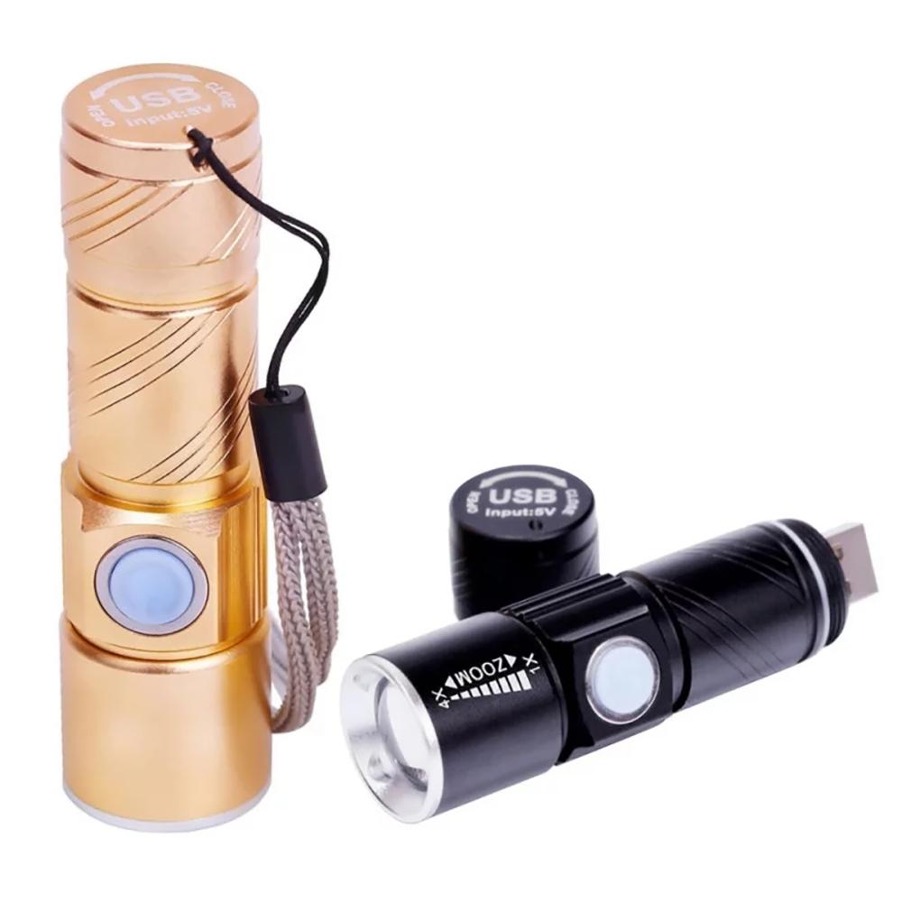 USB 휴대가 편리한 줌라이트 손전등 후레쉬 DH 미니, 골드