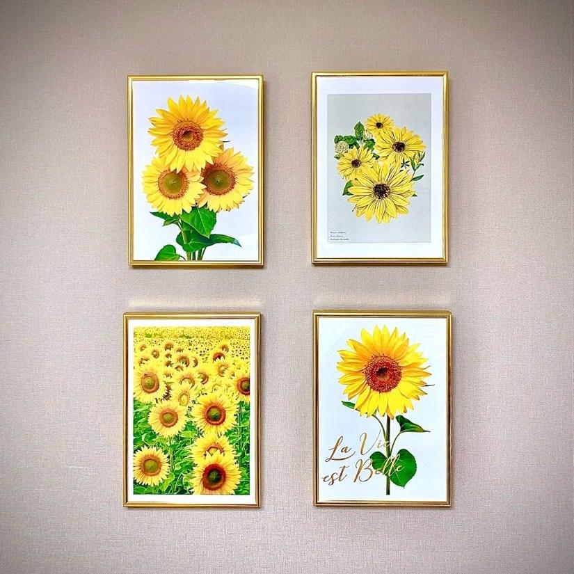 숑숑몰마켓 [소형사이즈][A4사이즈]해바라기 액자 소형 풍수지리, 포스터+황금프레임
