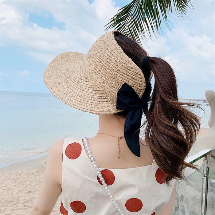 수제 정통 라피아 빈 왕골 밀짚벙거지 모자 여성 야외 나들이 해변 일본 토플리스 활 햇빛차단