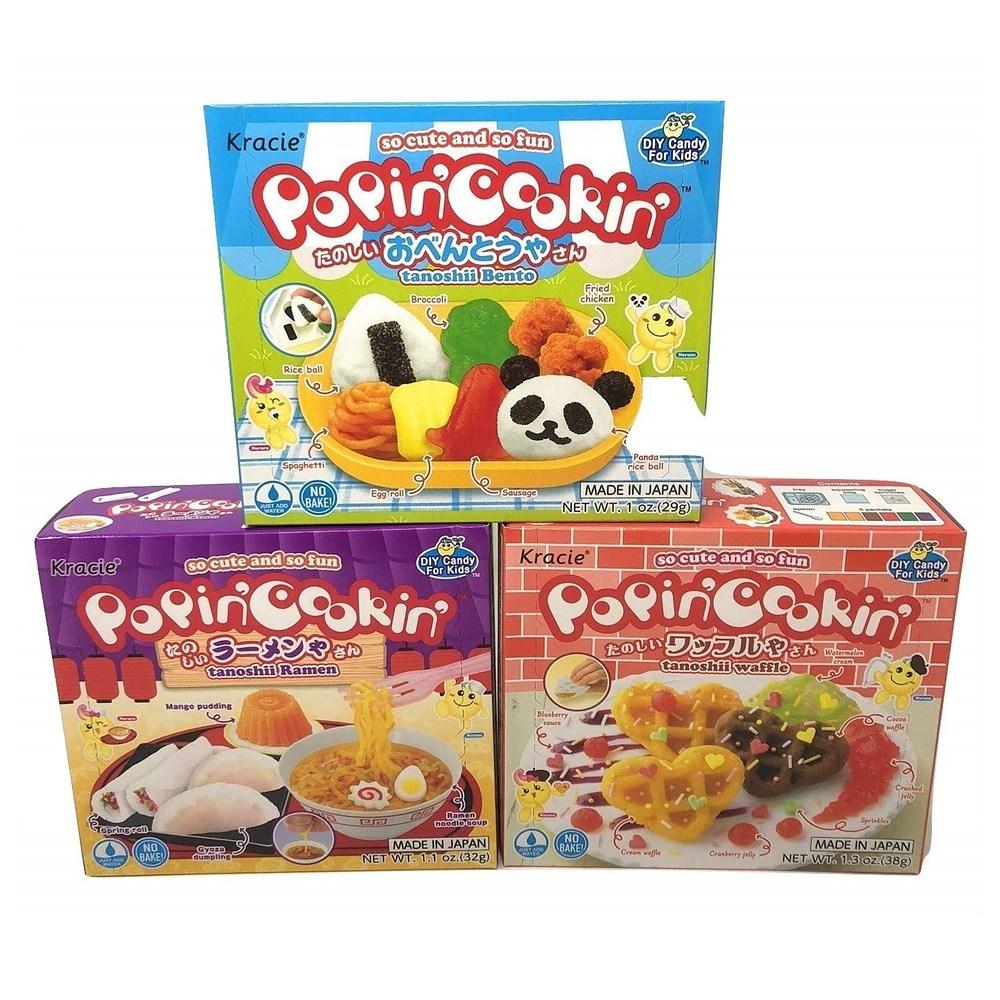 Popin Cookin DIY Candy Kit Gift Box 파핀 쿠킹 키트 타노시 벤또 라멘 와플 젤리 박스 1oz (28g) 3통, 28g