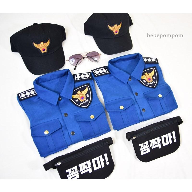 핑크피치 긴팔아기경찰복 아기경찰복 가을신상