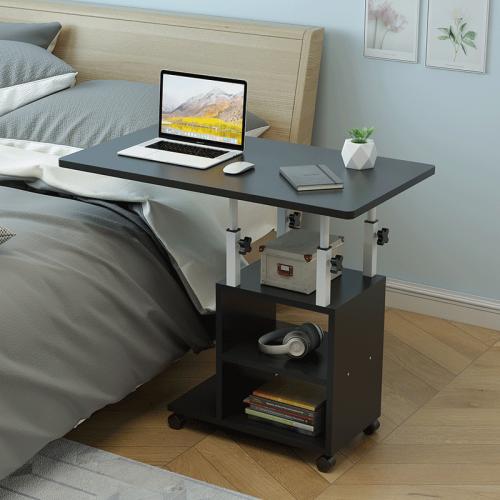 수납 사이드 침대옆 테이블 노트북 이동식 흑목80mm, 단품