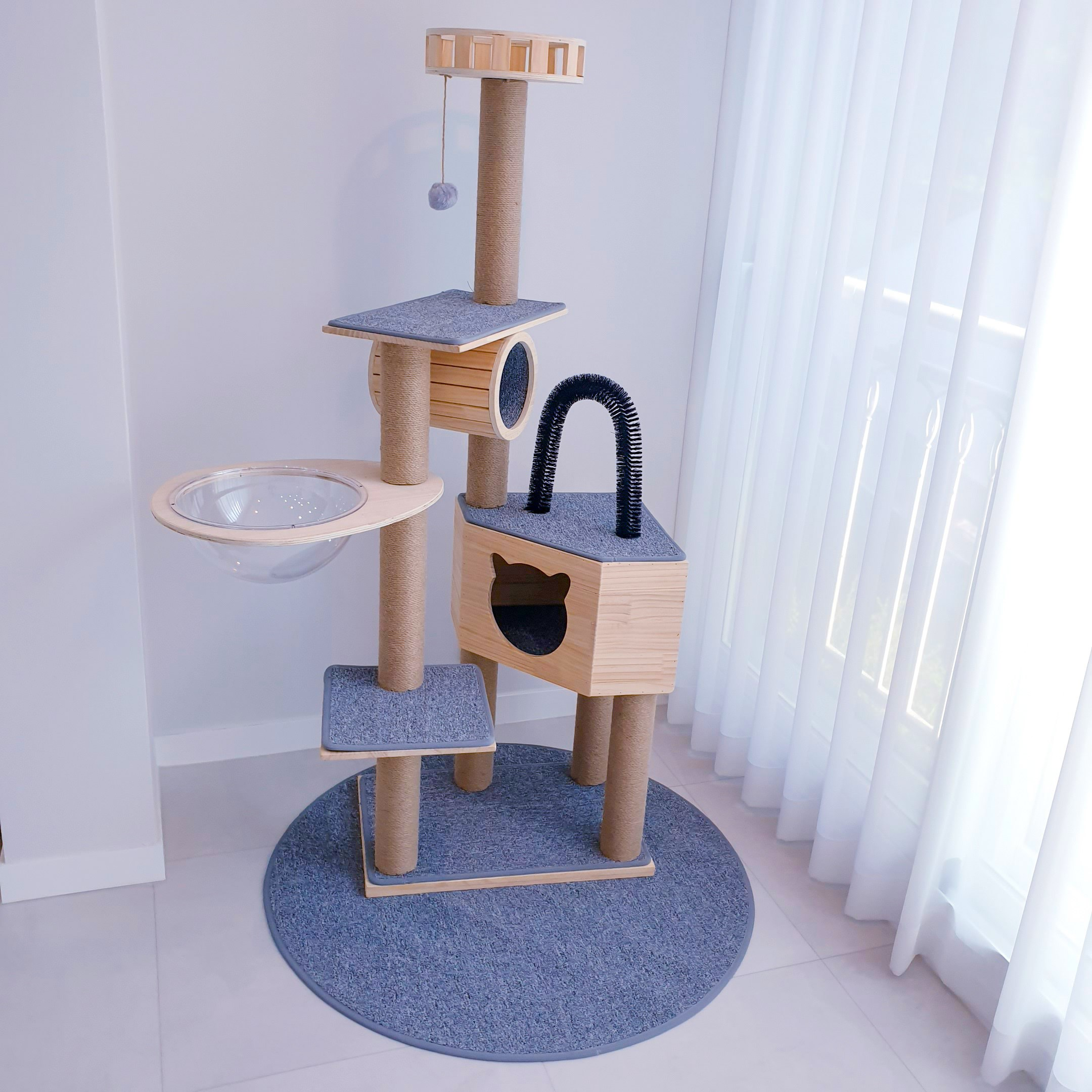 우주선 캣타워 원목 우주캡슐 투명 해먹 DIY 공간박스 운동기구 캣폴, 1set, 노말컬러