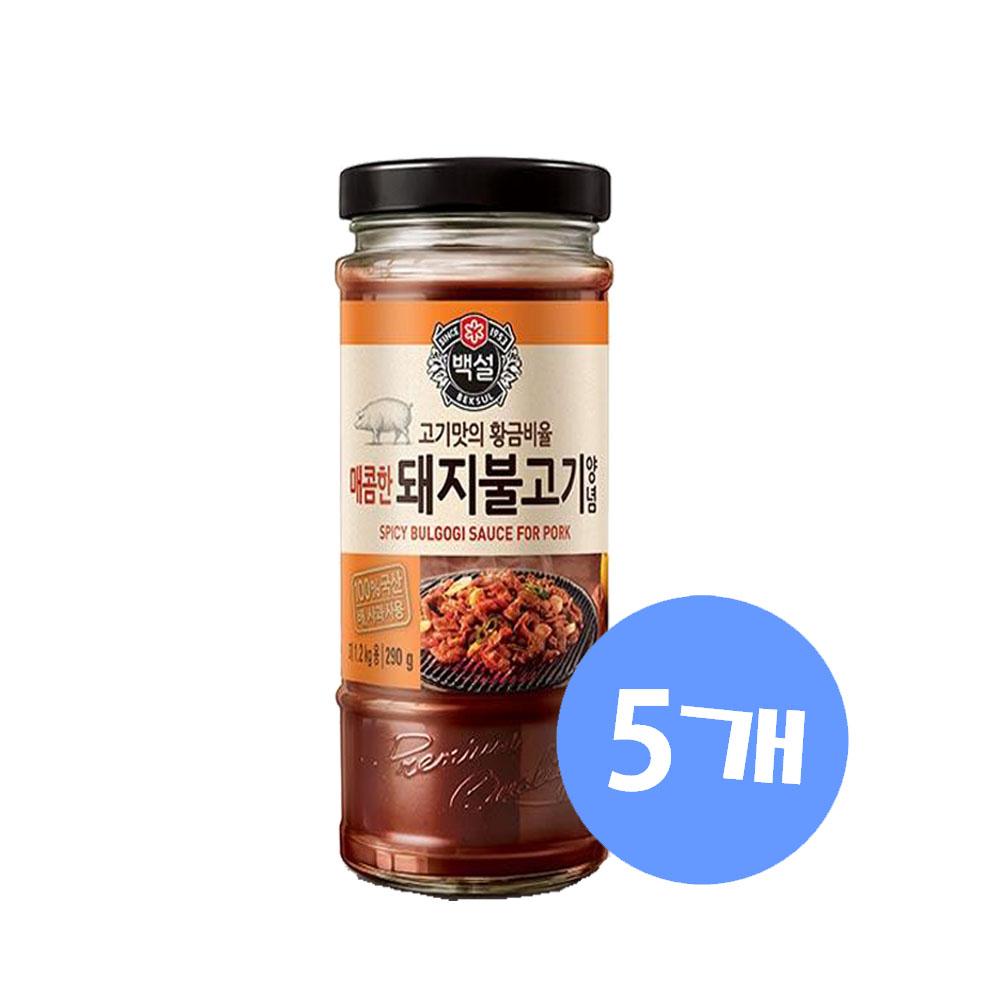(상온)백설 매콤한 돼지불고기양념290gx5개, 1세트