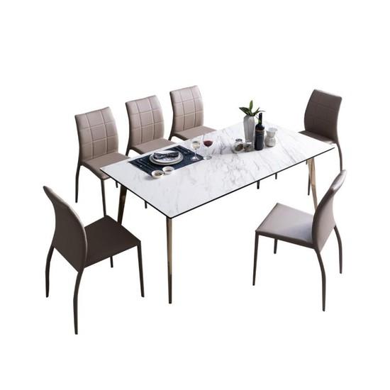 까사미아 트렌드라인 for casamiashop 웨스턴 이태리 세라믹 6인용 식탁세트의자6, 마블화이트-블랙-