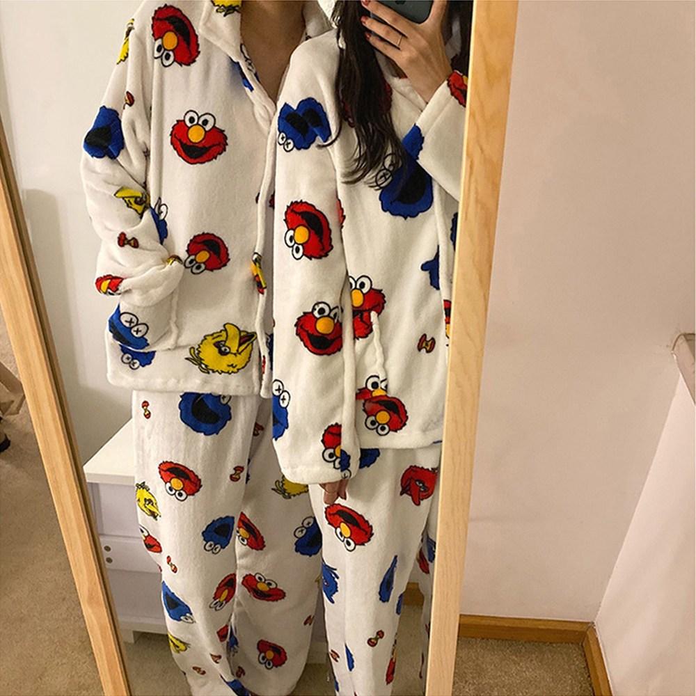 [커플 파자마] 엘모 극세사 수면 잠옷 세트 (2color)